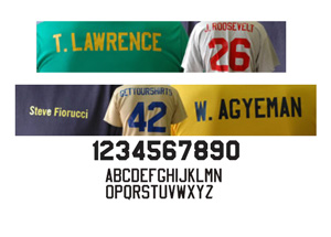 T-shirt personalization with names and numbers