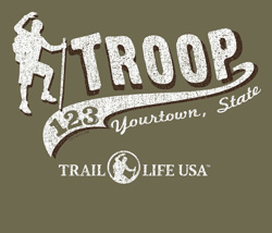 SP5907 script tail Trail Life USA troop t-shirt design