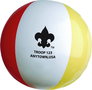 18 inch beach ball with printed scouting logo