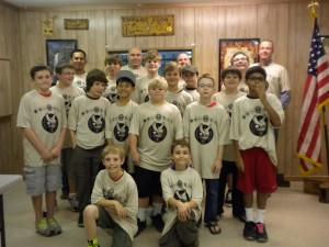 Boy Scout Troop wearing custom t-shirts