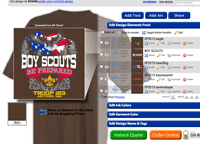 Online shirt designer tool custom boy scout troop shirts