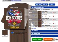 Online shirt designer tool custom boy scout troop shirts