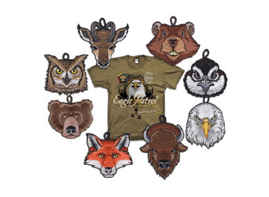 Custom BSA wood badge critter gear
