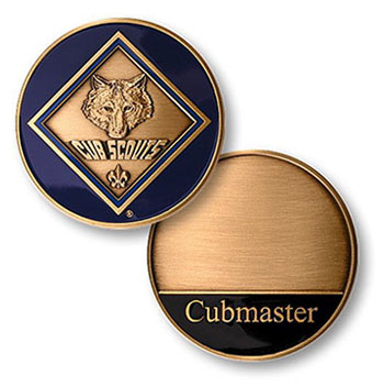 Cub scout leadership coin engraved with cubmaster and cub scout logo