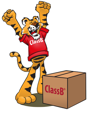 ClassB cartoon tiger excited about receiving custom t-shirts