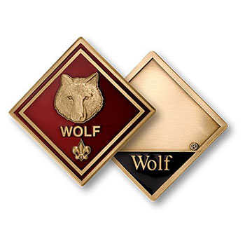 Wolf emblem cub scout pack rank coin